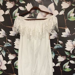 Boho off the shoulder white dress, super cute!